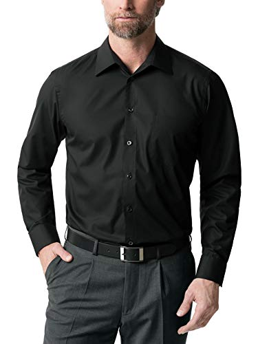 Walbusch Herren Hemd Bügelfrei Kragen ohne Knopf einfarbig Schwarz 42 - Langarm