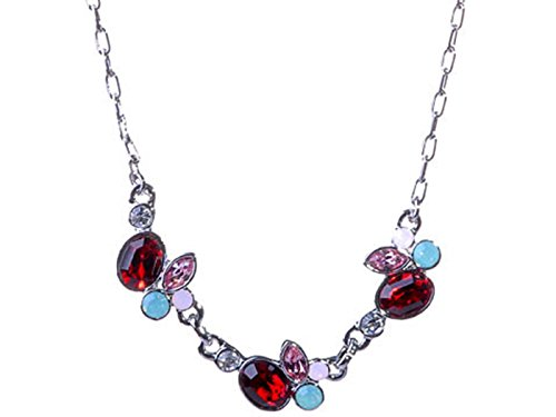 Alilang Petite Synthetic Ruby Red Lite Rose Pink Apple Fruit Swarovski Crystal Rhinestone Necklace