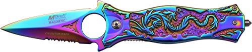 MTech USA Taschenmesser MT-A707 Serie, Messer DESIGNER REGENBOGEN Griff, scharfes Jagdmesser, Outdoormesser 8,26 cm ROSTFREI Multicolor TITAN Klinge Halbgezahnt, Klappmesser für  Angeln/ Jagd