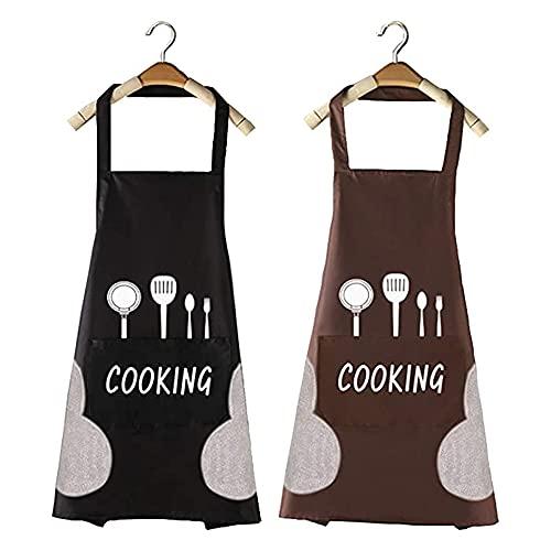 TBONEEY 2 Piezas Delantal Cocina Hombre Mujer Delantal Cocina Profesional Impermeable Antimanchas Adulto Cocinero,Con Bolsillos y Polar...