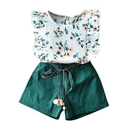 Kleinkind Mädchen Outfits Blume Drucken T-Shirt Tops und Gürtel Kurze Hose