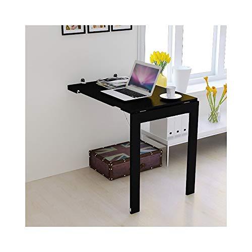 DYFYMX Folding Wandbehang Tisch Multifunktionale Klapptisch Massivholzmöbel Esstisch Computertisch Laptop-Tisch (Color : Black)