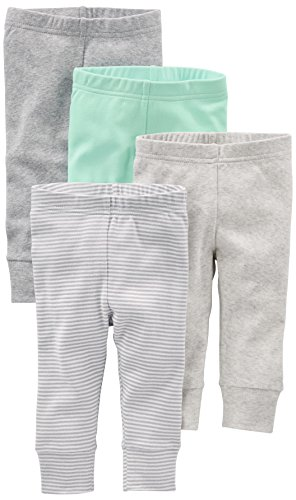 Simple Joys by Carter's Baby 4-Pack Pant, Gray/Mint, Newborn
