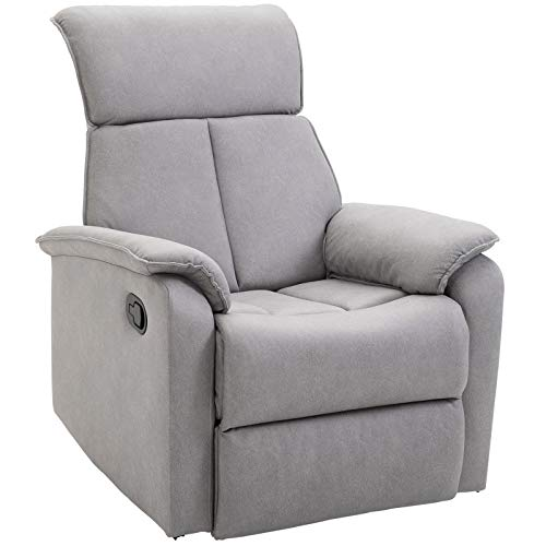Homcom Fauteuil de Relaxation Grand Confort pivotant 360° Dossier inclinable Repose-Pied Ajustable Simili Cuir Tissu Gris Clair