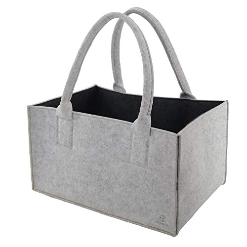 stil-macher Designer Filztasche Zweifarbig grau und anthrazit | Neues Modell 2019 | Kaminholztasche | Einkaufstasche | Tragetasche | Einkaufskorb | Shopper | Kaminholz| Filz | Maße 45 x 30 x 25