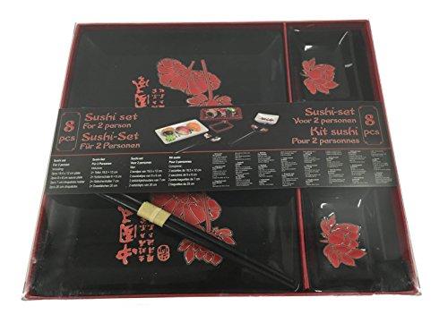 Sushi Set 8 teilig Teller Geschirr Besteck Stäbchen Porzellan schwarz + Lotus Nr.2