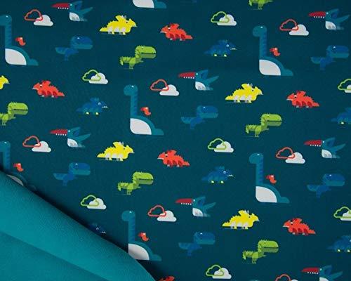 Softshell Stoff mit Dinos auf Petrol als Meterware zum Nähen von Kinder- und Babybekleidung, 50 cm