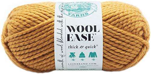 Lion Brand Yarns - Ovillo grueso de lana y acrílico, 21,59x 9,53X 9,53cm, acrílico, amarillo mostaza, 21.59x9.525x9.525 cm