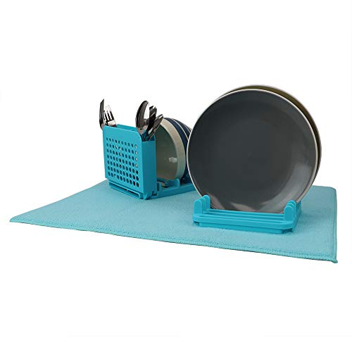 Home Basics DR37034 Dish Drying Rack with Mat, Polyester, Turquoise