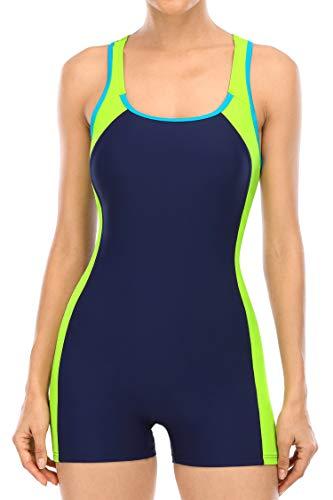 beautyin Women Swimming Suit One Piece Boyleg Racerbcak Water Aerobic Swimsuits Yellow/Navy