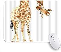 VAMIX マウスパッド 個性的 おしゃれ 柔軟 かわいい ゴム製裏面 ゲーミングマウスパッド PC ノートパソコン オフィス用 デスクマット 滑り止め 耐久性が良い おもしろいパターン (野生動物水彩キリン眉白い羽)