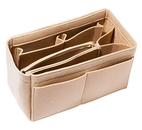 HEALTHLOVE Felt Insert Bag Organizer Purse Organizer Include Zipper Purse for Handbag Choice 3 Size (Small, Camel)