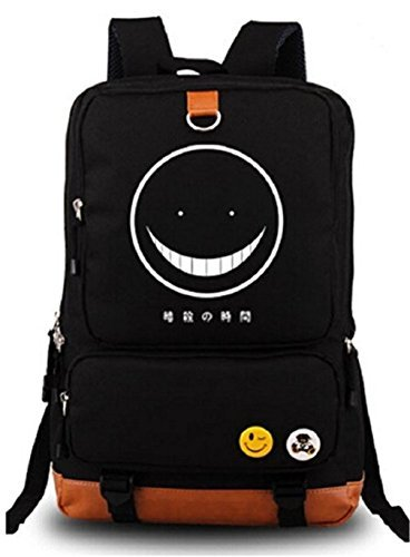 Gumstyle Anime Assassination Classroom Luminous Large Capacity School Bag Cosplay Backpack Black and Blue
