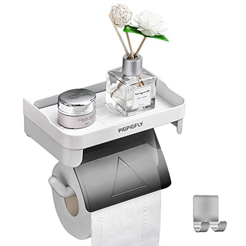 Toilettenpapierhalter Ohne Bohren mit Ablage, Selbstklebend Klopapierhalter + 1 Selbstklebend Handtuchhaken, Wandmontage Klorollenhalter WC Papier Halterung,ABS-Kunststoff