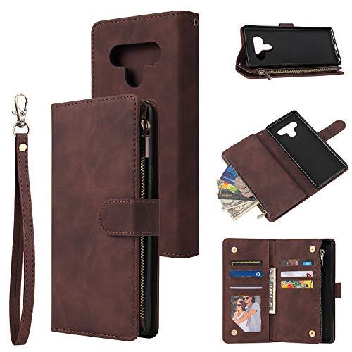 Kompatibel mit LG Stylo 7 5G Brieftaschen-Hülle, Lederreißverschluss, Magnetverschluss, 6 Kartenfächer, Geldbörsen-Schutz, kompatibel mit LG Stylo 7 5G (Kaffee)