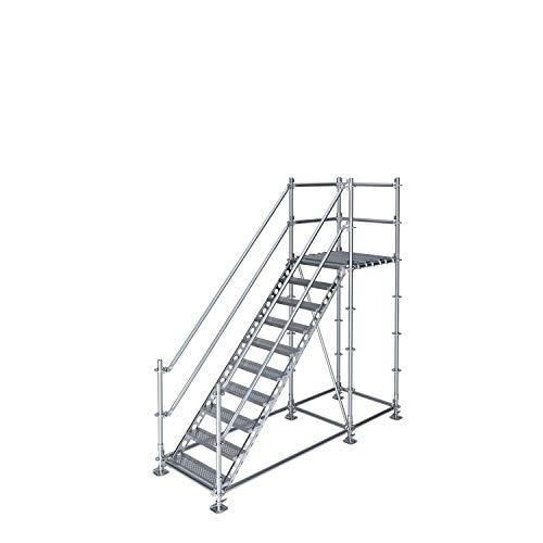 Scafom-rux Bautreppe Außentreppe für 2 m Höhenunterschied mit Podest, feuerverzinkter Stahl