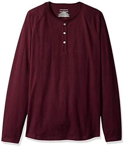 Amazon Essentials Men's Regular-Fit Long-Sleeve Henley Shirt, Burgundy, XX-Large