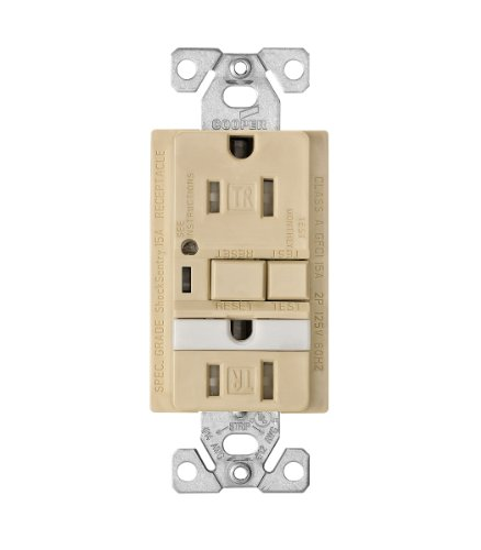EATON Wiring TRVGFNL15V Tamper Resistant 15-Amp Combination GFCI Receptacle with Nightlight, Ivory Finish