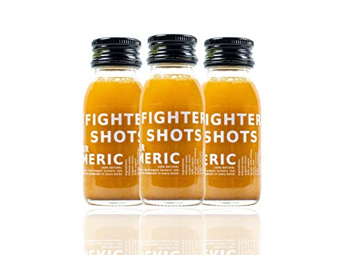 Fighter Shots Ginger + Turmeric 12 x 60ml - Boost Immunity - Reduce inflammations - All Natural - Not from Concentrate