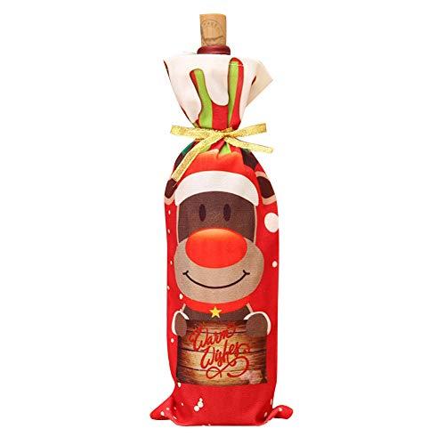 mnoMINI Kerstmis Wijnfles Cover Tassen, Santa Snowman Elk Print Wijn Gift Tassen, Wijnglas Doek Cover voor Feesttafel Kerstdecoratie, Thanksgiving