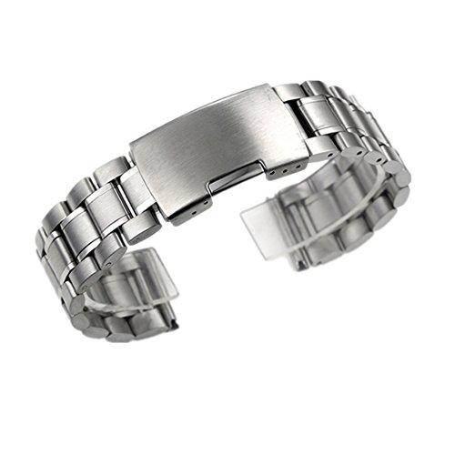 Zeiger Unisex Edelstahl Uhrenarmband Faltschließe 20mm Silber B005