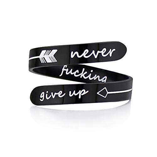 Inspirational Adjustable Never give up Black Ring Opening Cute hiphop Cool Statemen Gift for women