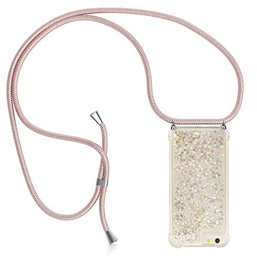 YuhooTech Handykette Kompatibel mit iPhone 7/ iPhone 8/ iPhone SE 2020 - Glitzer Hülle Flüssig Bewegende Treibsand Transparent Handyhülle - Smartphone Necklace Case Band Gradient Quicksand Cover