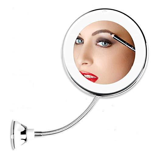 BiLTTy 10 aumentos LED iluminado espejo de maquillaje con luz natural regulable – batería, 7 pulgadas de ancho, ABS, baño, tocador, escritorio, dormitorio, blanco, redondo