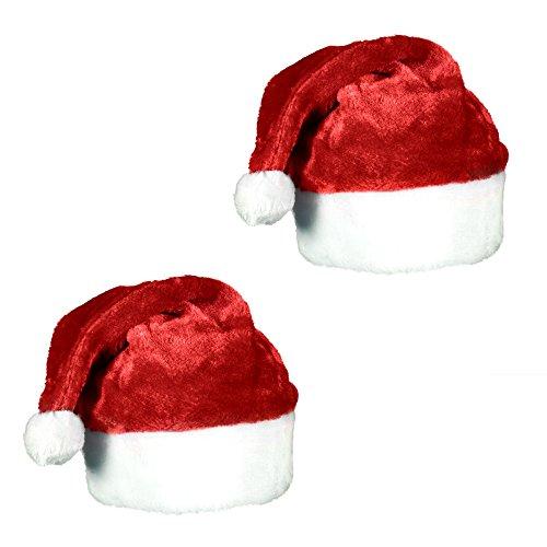 Plush Red Velvet Christmas Santa Hat with White Cuffs (2 Pack)