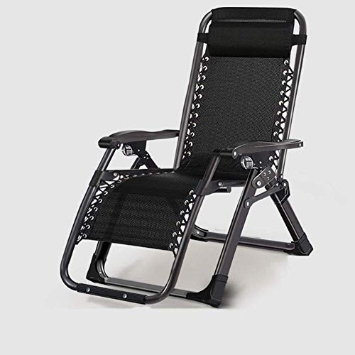 MIEMIE Reclining Chair Sun Lounger, Recliner Garden Chairs Zero Gravity Metal Folding Deck Chair with Armrest - Adjustable Backrest- for Outdoor Camping B