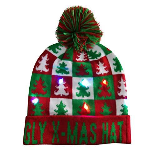MORCHAN LED Light-up tricotée Laid Pull de Vacances de Noël Bonnet de Noël(A,Multicolor-35)