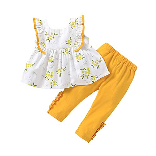 Moneycom❤(6M-4T Toddler Baby Girls sans Manches à Volants Floral Print Vest Tops + Solid Pants Outfits Jaune(3-4 Ans)