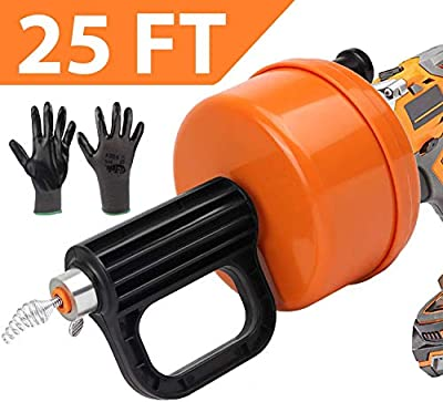 SUNDRAIN Drain Snake Plumbing Snake Drain Auger with Drill Adapter Heavy-Duty 25 FT Snake Drain Clog Remover Tool Pipe Snake for Sink Shower Bathtub Kitchen Bathroom with Work Gloves