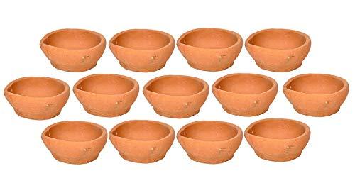SSR Indische traditionelle Diwali Diya handgefertigte Tonöl-Diya-Lampen für Puja-Dekoration, Deepawali Heimdekoration, 51 Stück – inklusive Baumwoll-Batti-Pack