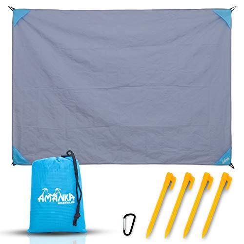 AMANKA Outdoor Picknickdecke 200x140 Stranddecke Sandfrei Reise Strandmatte Grau