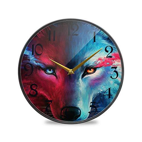 ART VVIES Reloj de Pared Redondo de 9,5 Pulgadas Que no Hace tictac silencioso Funciona con Pilas Oficina Cocina Dormitorio decoración del hogar-Galaxy Wolf Head