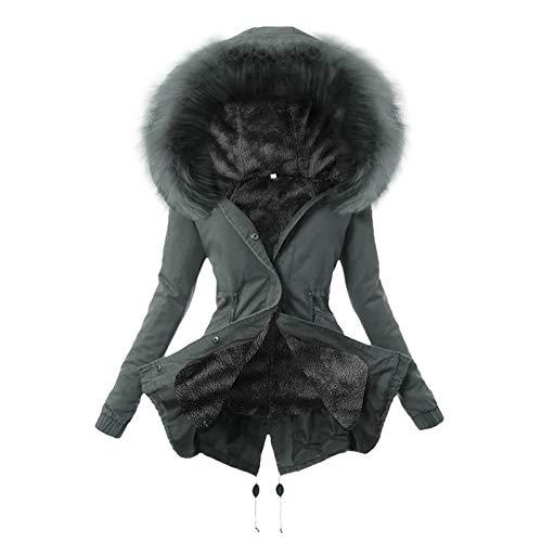 Auifor Damen Winterjacke, Warme Mantel mit Kapuze Plus Samt Wintermantel Lange Jacke Winter Coat Schlanke Outwear Mantel Winterparka Steppjacke Outdoor Kapuzenjacke(E-Grau,Medium)