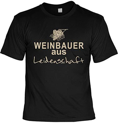 Winzer - Landwirt/Bauern Sprüche-Motiv T-Shirt - Geschenk-Shirt Weinbauer Landwirtschaft : Weinbauer aus Leidenschaft - Fun-Shirt Traubenernte/Weinrebe/Wein Gr: M