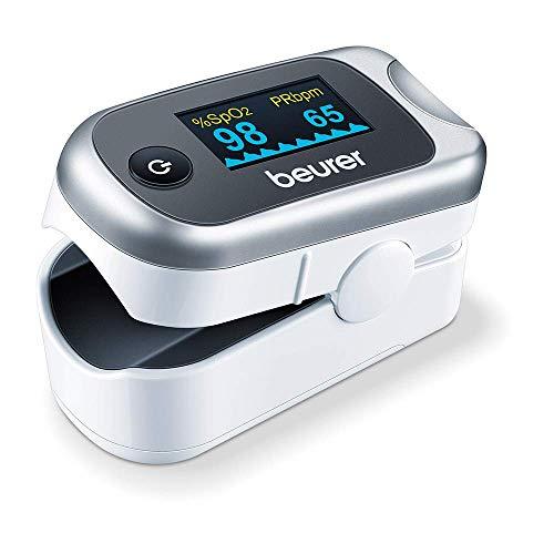 Beurer PO 40 - Pulsossimetro per il Monitoraggio della Saturazione di Ossigeno nel Sangue, Battito Cardiaco e Indice di Perfusione
