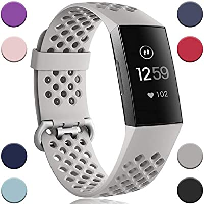 Wepro Bands Replacement Compatible Fitbit Charge 3 for Women Men Small, Waterproof Breathable Holes Watch Sport Strap Accessories for Fitbit Charge 3 SE Fitness Tracker, Slate Gray