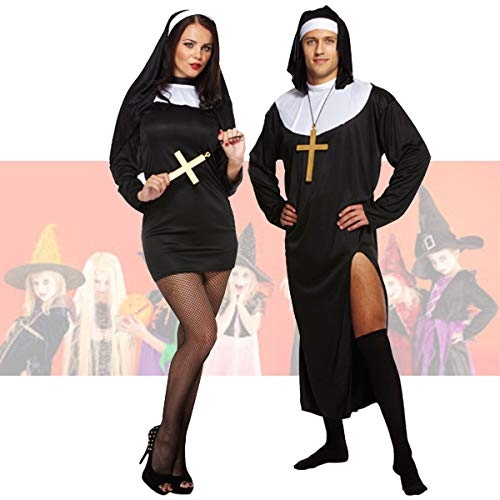 Deluxe Adult Nun Couple Adult Halloween Costume with Monk Cross Necklaces by Lizzy