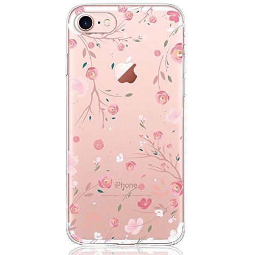 Oveo® Coque iPhone 7 / 8, Série Dolce Vita Housse Etui Silicone Transparente pour Fille/Femme, avec motif Fleur Rose