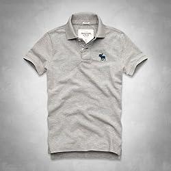 e968f423798bf1 (アバクロンビー&フィッチ) Abercrombie & Fitch アバクロ メンズ ヘンリー 半袖 Tシャツ [ヘザーグレー/LOGOパッチ]  並行輸入品
