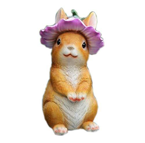 Jambala Jardín Conejo pequeños Adornos, decoración de Escritorio Crafts, Resina Animal Esculturas, 9x9x17cm (Color : C)