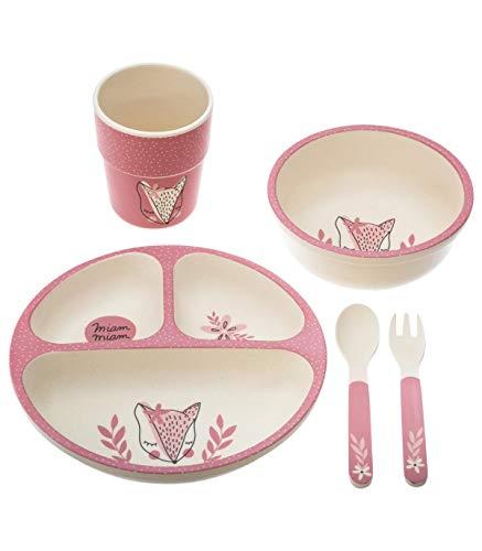 Atmosphera - Vaisselle Enfant Set Repas à Compartiments 5 Pièces Rose