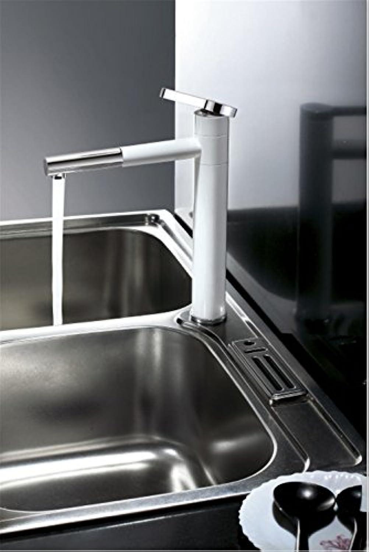 Küchenarmaturt Rehaussement et long robinet d'eau chaude et froide robinet de lavabo de salle de bains en cuivre tournant à 360 degrés robinet de cuisine robinet de peinture de mode moderne Weiß
