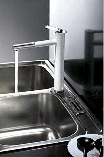 Grifo mezclador para lavabo, WATER TOWER moderno con cuerpo de latón y válvula de mezclado de agua caliente y fría, grifo de cobre giratorio 360 ° para cocina moderna pintura blanca