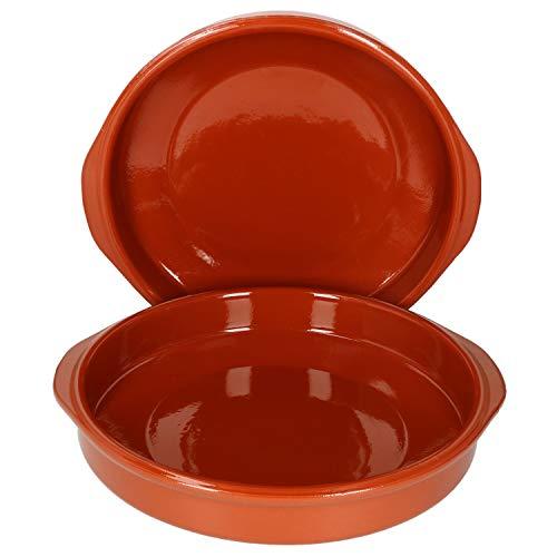 MamboCat Cazuela Schale + Henkel Tonware I 2er Set I Ø 31,5 cm I Größe XL I Mediterran I Glasiert I Unikat Handarbeit I Antike/Vintage I Mittelalter I Wikinger