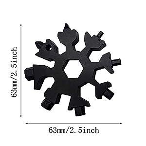 FUJIE 18 en 1 Multi herramienta Copo de Nieve Tarjeta de la Herramienta de Acero Inoxidable Destornillador Llavero Abrebotellas EDC Tool, Negro