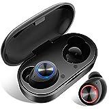 Bluetooth Kopfhörer In Ear, Wireless Noise Cancelling Earbuds Bluetooth 5.0 True Wireless Deep Bass HD-Stereo Headset Ohrhörer Kabellos Sport Touch-Control Earphone Automatische Kopplung (Schwarz)